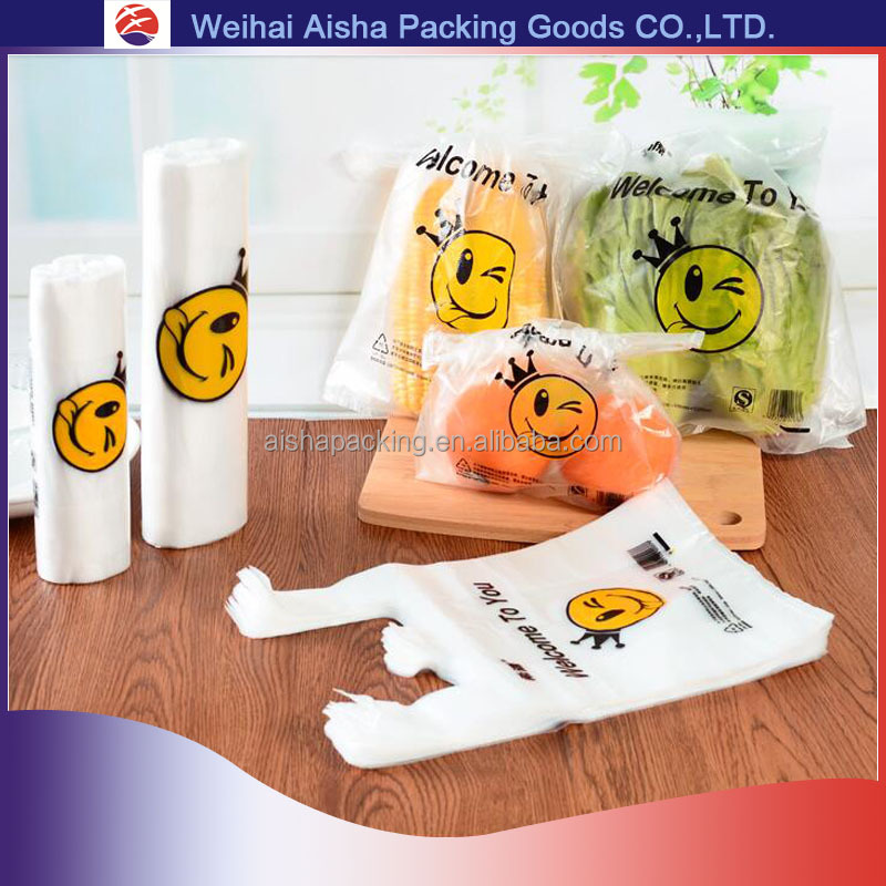 Thicken Various Sizes Prevent Liquid Packaging Plastic T shirt Bag In Roll