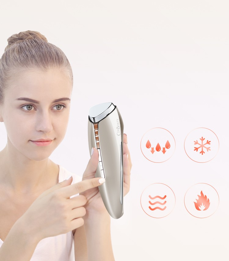 2017 CosBeauty handheld Home Use Cool And Hot Harmmer Cold Hot Ionic Skin Care Beauty Face Machine