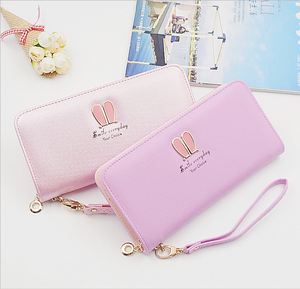 2017 korean style fashion women wallet long fancy purse with zipper wholesale