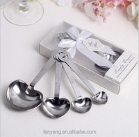 Heart Shaped Measuring Spoons in White Gift Box Unique Keepsakes Bow Bridal Shower Wedding Favors Party Guest Gifts