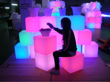 High quality Waterproof Style LED plastic furniture color changing led cube with rechargeable