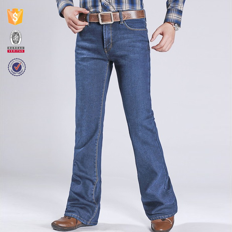 Denim factory oem customize new fashion mens denim bell bottom jeans