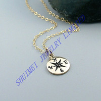 SHUIMEI Gold Plated Compass 14k Filled Charm Beaded Statement Pendant Chain Necklace New Fashion Jewelry