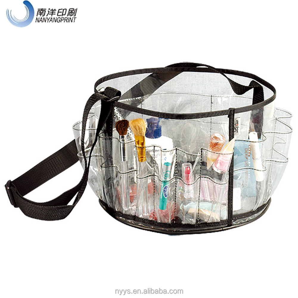 Customied Print Logo Clear PVC Plastic Fashion Round Cosmetic Bag With Zipper