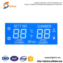 blue backlight segment transmissive reflective transflective lcd for temperature controlled system