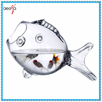 Decorative Clear Glass Fish Bowl Fish Shaped Fish Tank