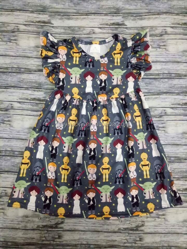 star kids war printing spring cute baby cotton frock design for old girl wear sleeveless new fashion children dresses