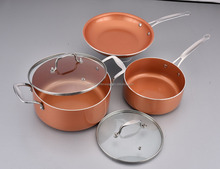 copper ceramic and Titanium coating aluminum pan cookware sets
