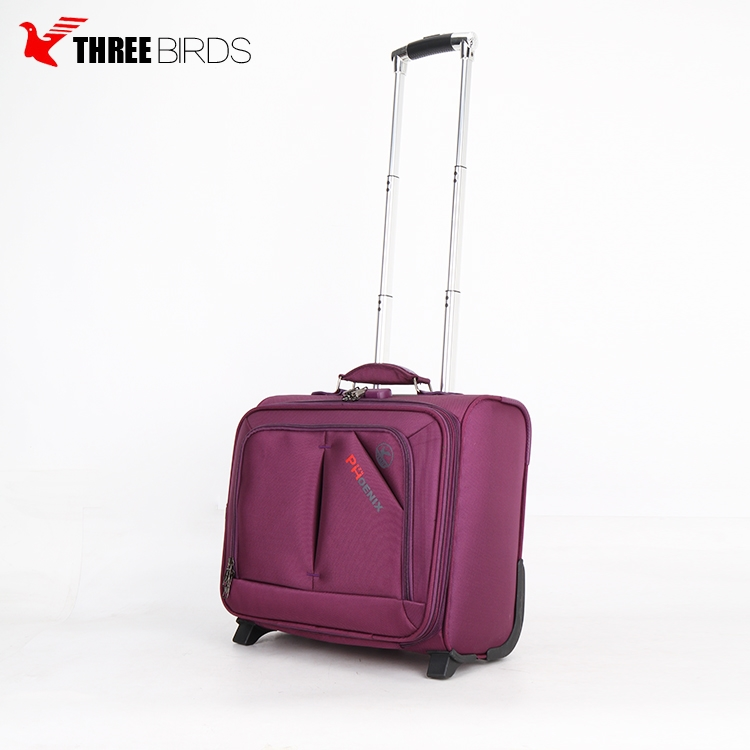 Three Birds Brand Laptop Trolley Bag, Polyester 15 inch Luggage bag case