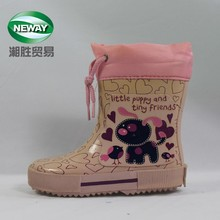 Pink Printing Lovely Dog Rubber Rain Boots with Shoelace for Kids