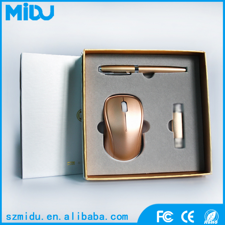 MIDU M-SUB01 Christmas Office Gift Item Wireless Mouse & Ballpoint Pen & USB Promotion Gift Box Packaging