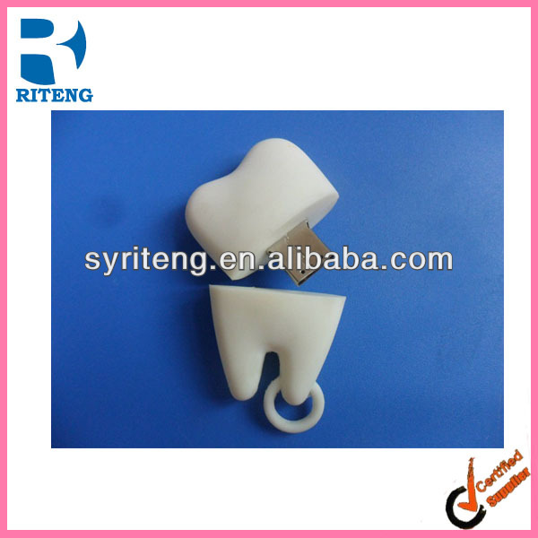 promotion bulk cheap plastic PVC cute tooth shape usb flash drive