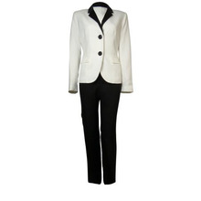 2017 elegant white and black Tailored Suit two piece Ladies formal office wear