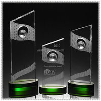 Outstanding Crystal Slanted Top Awards With Green Oval Base