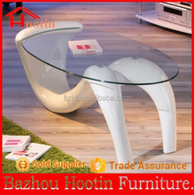 2014 new design clear safety glass 8mm table top and fiberglass body oval coffee table