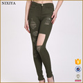 Wholesale Broken Big Hole Trousers Army Green Women Pants