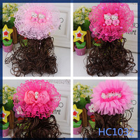 2016 most popular kid pink flower jewellery with hair wholesale cute cheap hair clip