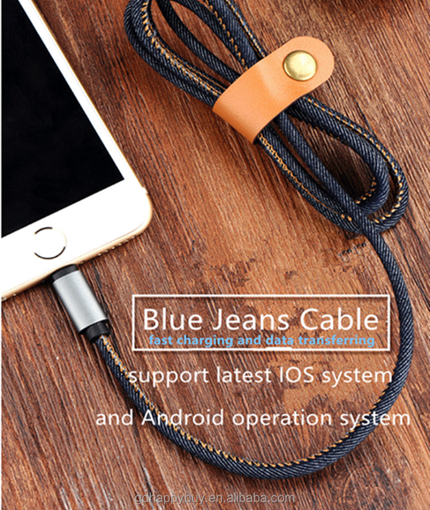 High Quality Factory Blue Jeans PU leather 8 Pin Usb Data Cable for iphone Charger Cable for iphone 6 7 7 plus