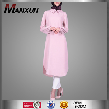 Simple Style Islamic Clothes For Girls New Models Stand-up Collar With Beads Muslimah Blouse High Grade Maxi Dress