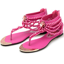 Beatiful ladies flat summer sandals flip flops shoes with pearls