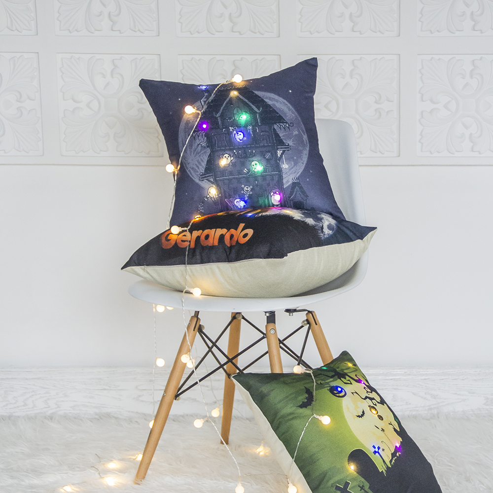 Latest Design Halloween Festival Big Moon Printed Textile Led Light Sofa Cushion Covers
