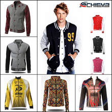 Custom made leather sleeve man & woman winter varsity jackets wholesale