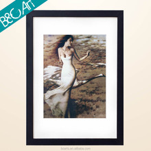 Framed Girl and Bird Painting Beautiful Girl Portrait Picture