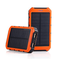 Solar Charger, Portable Solar Power Bank 10000mAh Dual USB Battery Charger External Backup Power Pack for Cell Phone Camera GPS