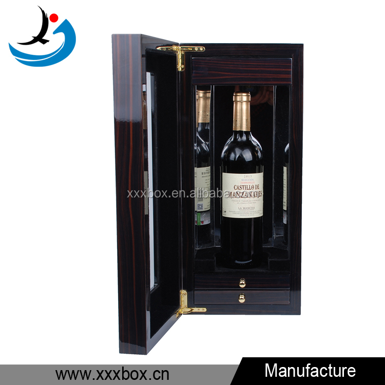Customized empty wooden wine lacquer boxes high glossy for Empty wine crates