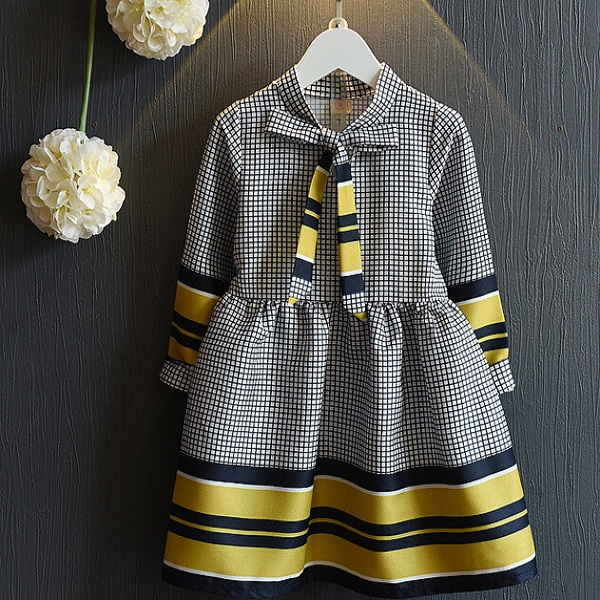 F40395A Korean style fashion checks children frocks designs