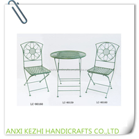 LC-80159/160 Green Metal Folding Garden Table and Chair Set