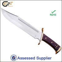 Stainless Steel Fixed Blade Wood handle Fighting Bowie Knife