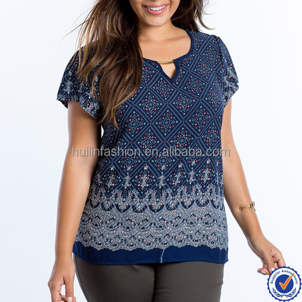 fashion urban clothing plus size women clothing printed XXL womens top