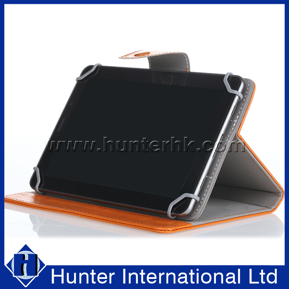 PC Clip Tan Leather Universal Tablet Case For 8 Inch