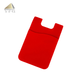 Solid color silicone 3m stick cell phone credit card holder smart wallet