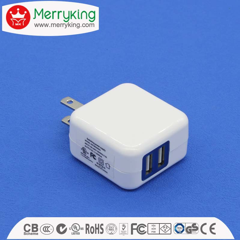 Factory price 2 port 10w 5v 2a universal usb travel power charger adapter for US