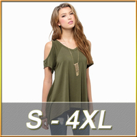 Summer Style 2016 Women Casual Loose Tops Off Shoulder Shirts Off Shoulder Round Neck Short Sleeve Blouses Plus Size