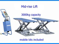 Mid rise lift low profile 3000kg wheel kits CE approved