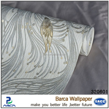 Barca 3206 series 2015 New heavy embossed cheap 3d decorative vinyl coated wall paper (6 colors)