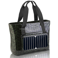 Durable pu material solar bag with portable power bank