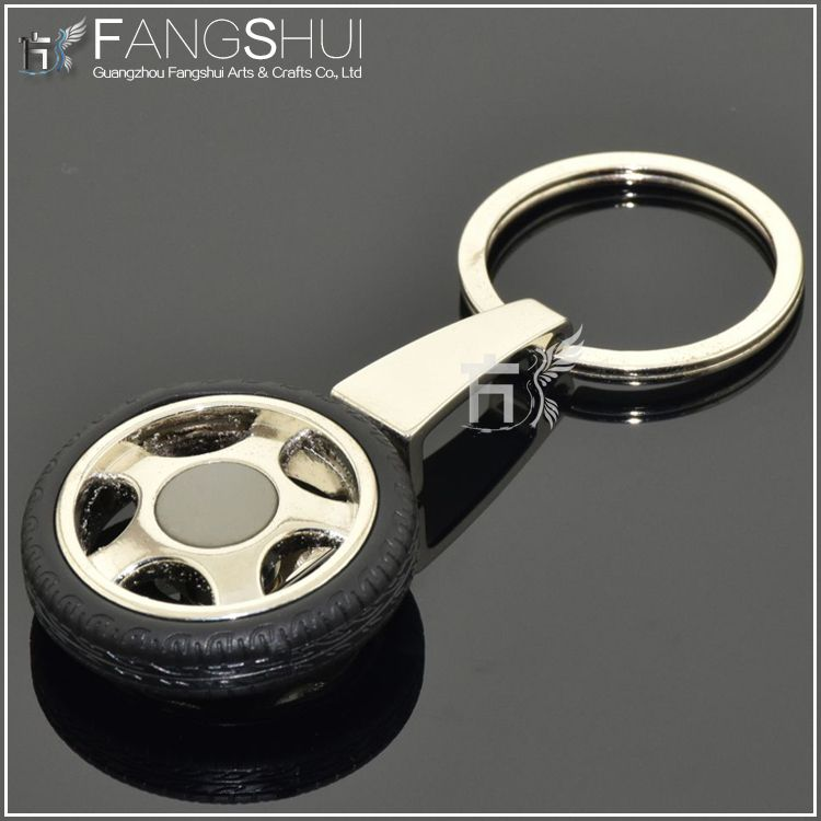 2014 3D custom metal tire shaped key chain with laser engraved logo
