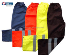hot sale polyester pvc coated rain pants with reflective tape supplier