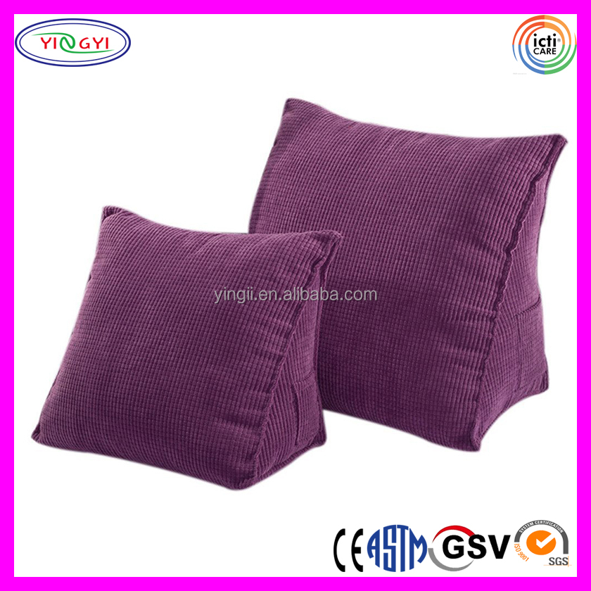 E224 Triangle Pillow Cushion Back Wedge Sofa Bed Office Chair Rest Back Support Throw Triangle Cushion