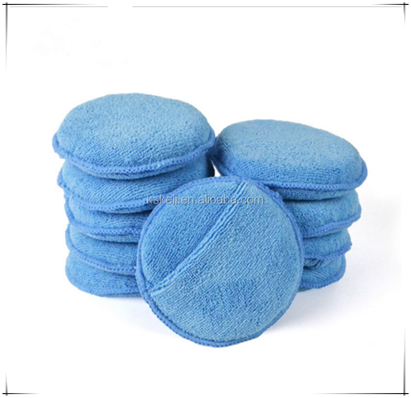 "Auto Care 5"" Diameter Soft Microfiber Car Wax Applicator Pads Polishing Sponges with pocket for apply and remove wax"