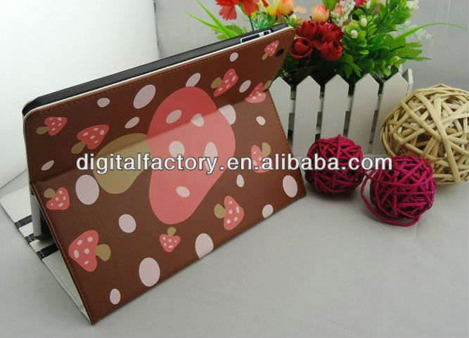 Cute Mushroom pattern style for ipad 2/3 leather case