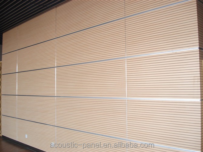2017 high quality wooden grooved acoustic panel for auditorium