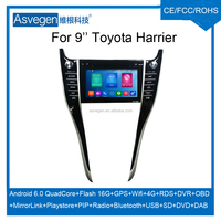 Android Car DVD Player For 9inch Toyota Harrier Accessories Car GPS Support Buletooth Radio Wifi Playstore
