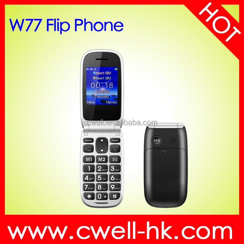 2.2 Inch Big Button Large Fonts Loudspeaker Old Man Flip Dual SIM Mobile phone with Charging Cradle W77