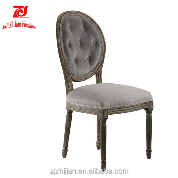 Round Back Old Finish Button Tufted Back French Chair ZJF30b