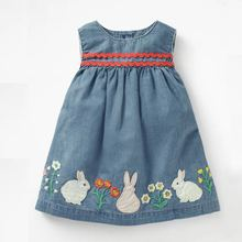 P0167 <strong>Girl's</strong> denim jean <strong>dress</strong> with animal rabbit embroidery for summer gril's clothing